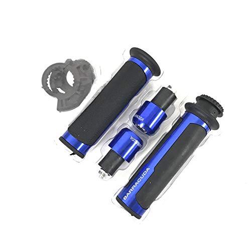 Barra de la manija Universal de 22 mm de Road & Racing Moto Barracuda Kit con Extremo de la Barra CNC 7/8 '' de la manija de la Motocicleta Bar Caps/Manillar Kit (Color : Blue)