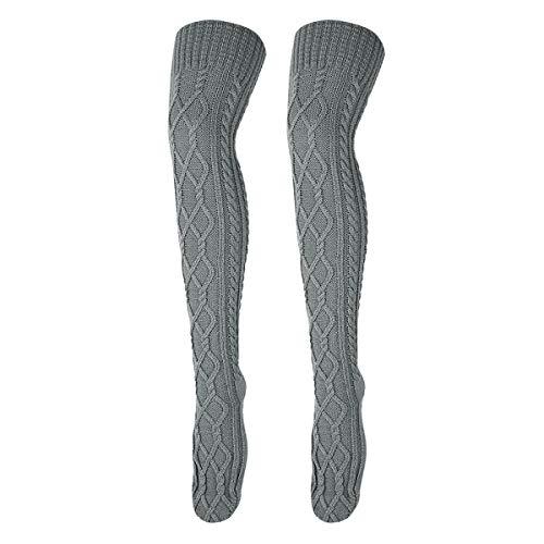 ANSUG Damen Overknee Strümpfe Lange Kniestrümpfe Frauen Hohe Socken Lange Socken stricken Boot Strümpfe Indoor Home Socken und Winter Beinwärmer