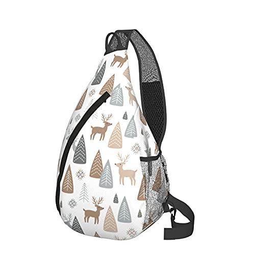 Mochila de viaje Senderismo Bolsa de pecho Reindeer Forest Scandinavian Winter Style Crossbody Shoulder Chest Bag For Travel Hiking Casual Daypack