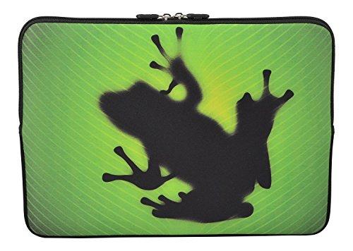 MySleeveDesign Laptoptasche Notebooktasche Sleeve für 10,2 Zoll / 11,6-12,1 Zoll / 13,3 Zoll / 14 Zoll / 15,6 Zoll / 17,3 Zoll - Neopren Schutzhülle mit VERSCH. Designs - Frog [17]