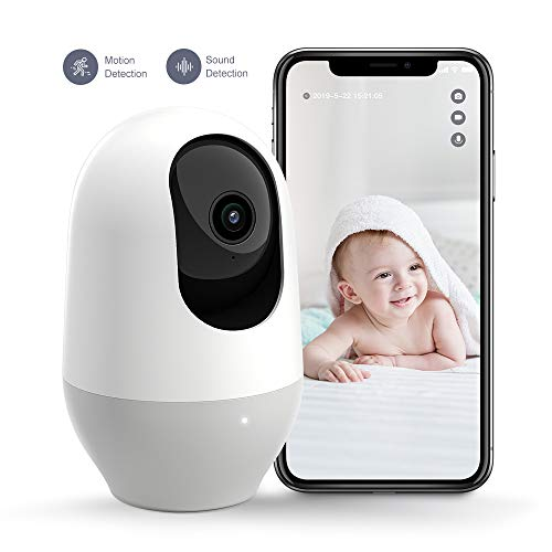 Nooie Baby Monitor, WiFi Pet Camera Indoor, 360-degree Wireless IP Nanny Camera, 1080P Home Security Camera, Motion Tracking, IR Night Vision, Works...