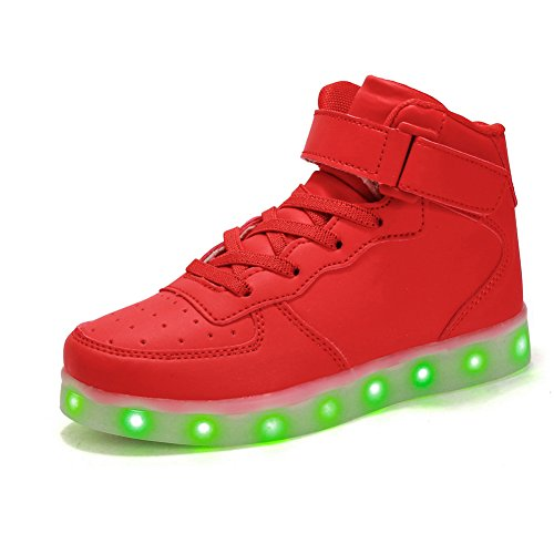 Voovix Kinder High-top LED Licht Blinkt Sneaker mit Fernbedienung-USB Aufladen Led Schuhe für Jungen und Mädchen (ROT, EU33/CN33)