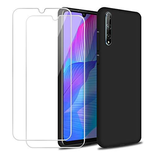 """Reshias Cover per Huawei P Smart S, Nero Morbido Silicone Liquido Protettiva Custodia con Due [9H Durezza] Vetro Temperato Pellicola Protettiva per Huawei P Smart S 6.3"""""""