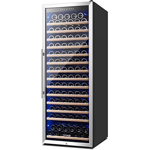 Wine Cooler 24 Inch, 154 Bottles Wine Refrigerator, Freestanding Wine Fridge with Intelligent Temperature Memory & Humidity Control Design Wine Cooler, Upgraded Compressor, Quiet Operation