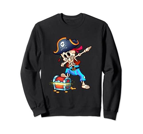 Esqueleto Dabbing Pirata Divertido Halloween Sudadera