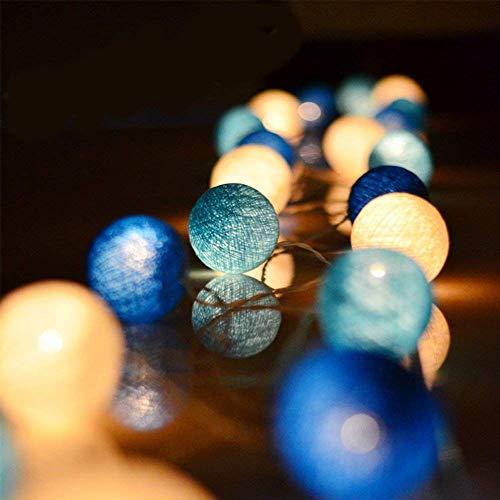 Zodight Catena Luminosa Ghirlanda Fata di Luci 20LEDs con Spina 3.5M Palla di Cotone Stringa LED per Decorazione Interna Notturna Matrimonio Natale Bianco Caldo