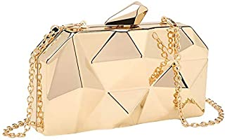 TOOGOO Geometry Clutch Evening Bag Elegent Chain Women Handbag For Party Shoulder Bag For Wedding/Dating/Party(Gold)