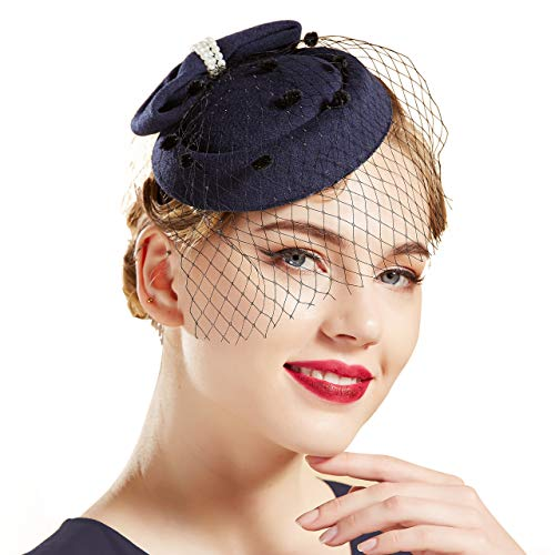 Coucoland Damen Fascinators Hut mit Perlen Schleife Mesh Hochzeit Braut Elegant Fascinator Haarreif Englische Cocktail Tee Party Damen Fasching Kostüm Accessoires (Navy Blau)