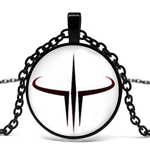 CLEARNICE Collar de Hombre, Quake Lo Inspiró Collar, Colgante De Cuáqueo, Collar De Videojuegos, Regalos De Arte, Adecuado para Su Collar De Vidrio