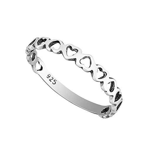 Solid 925 Sterling Silver Heart Stacking Ring 2.5mm Band in Sizes G-Z (Z)