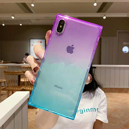 iPhone Xs Max Case,Tzomsze Clear Square Case Cute Gradient Slim Silicone Transparent Reinforced Corners TPU Cushion Cover Case for iPhone Xmax [6.5 inch]-Purple Green