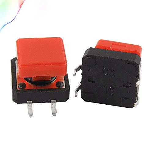5 Stück PCB Momentary Tactile Push Button Schalter 12 x 12 mm x 9 mm 4 Pin DIP mit Kappe