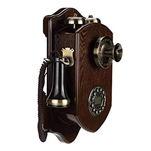 Teléfono colgante de pared de madera maciza rotativa Dial retro antiguo de línea telefónica Teléfono fijo oficina línea fija giratoria de teléfono con campana clásica de bienvenida