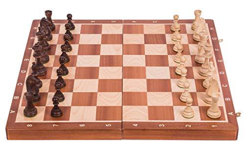 Square - Ajedrez de Madera Nº 6 - Caoba - Tablero de ajedrez + Staunton 6