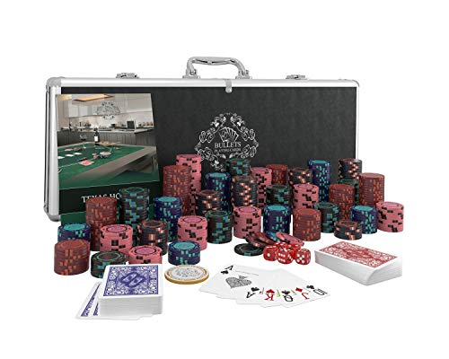 Bullets Playing Cards - Pokerkoffer Corrado Deluxe Pokerset mit 500 Clay Pokerchips ohne Werte, Poker-Anleitung, Dealer Button und Bullets Plastik Pokerkarten