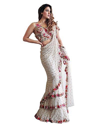 Indian Saree Sari Frill Ruffle Border Bollywood Georgette Work Ruffle Saree White