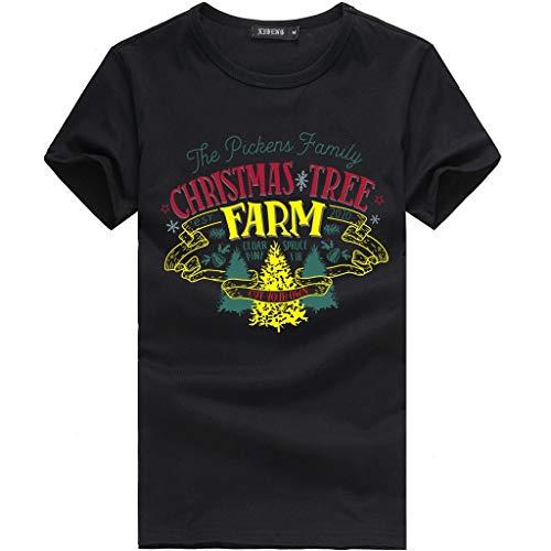 Hniunew Festliches T-Shirt Christmas Tree Farm Junge Freizeithemd Kurzarm Hemd Oberteil Tops WeihnachtskostüM Weihnachten Karnevalshemd Shirts Tee Weihnachtsmotiv Basic Shirt Mit Rundhals