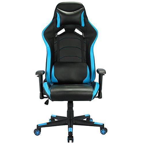 Sedia da gaming, Poltrona Ufficio Girevole lussuosa schienale reclinabile alto cuoio di PU Sedia girevole direzionale Sedia del gioco computer -Blu e Nero