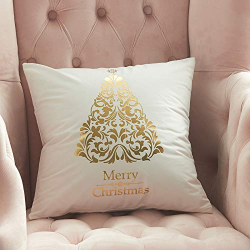 CAIZHAO Christmas Throw Pillow Cover,Christmas Hot Stamping Pillowcase Sofa Hug Pillowcase Cushion Cover,Gold Stamping Print Decorative Throw Pillow Case Cushion Covers