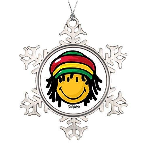 Cheyan Smiley Rasta Xmas Trees Decorated Christmas House Decorations Christmas Snowflake Ornaments 3 inch