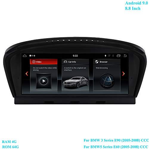 XISEDO 8.8 inch scherm Android 9.0 autoradio RAM 4G ROM 64G radio met GPS navigatie Android radio voor BMW 3-serie E90 (2005-2008)/ BMW 5-serie E60 (2005-2008) oorspronkelijke CCC-systeem