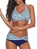 Yanekop Womens Two Piece High Waisted Swimsuits Push Up Halter Bikini Striped Padded Bathing Suit(Blue,L)