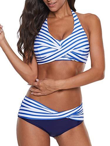 Yanekop Womens Two Piece High Waisted Swimsuits Push Up Halter Bikini Striped Padded Bathing Suits(Blue,XL)