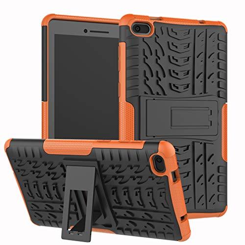 LMFULM® Hülle für Lenovo Tab E7 TB-7104F (7,0 Zoll) PU 3 in 1 Hybrid Heavy Duty Stoßfest Anti-Rutsch-Schutzhülle Weiche Silikon Rückseite für Lenovo Tab E7 Orange