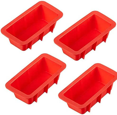 LERYKIN Mini Loaf Pan Set NON STICK FLEXIBLE Silicone Bread Loaf Pan JUST POPS OUT Perfect for product image