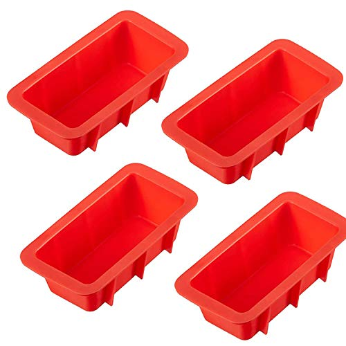 LERYKIN Mini Loaf Pan Set - NON-STICK,FLEXIBLE Silicone Bread Loaf Pan ! JUST POPS OUT! Perfect for Bread, Cake, Brownies, Meatloaf (4 Pieces)