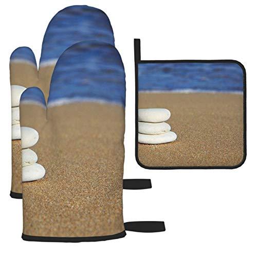 Vilico Rocks Cairn Equilibrio Rock Equilibrio Manoplas de horno y soporte para ollas, guantes de cocina de microondas, esenciales para el hogar, resistentes al calor para hornear, 3 piezas