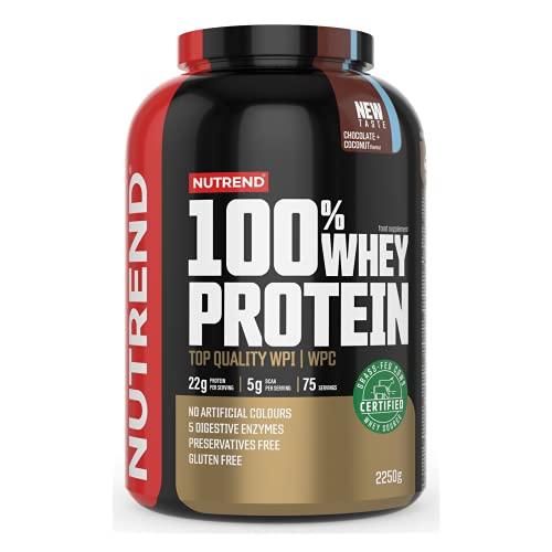 Nutrend 100% Whey Protein - Concentrado de Proteína de Suero - Desarrollo Muscular - Suplemento para Culturistas - Aminoácidos - BCAA - Paquete de 1 x (Strawberry Banana, 2250g)