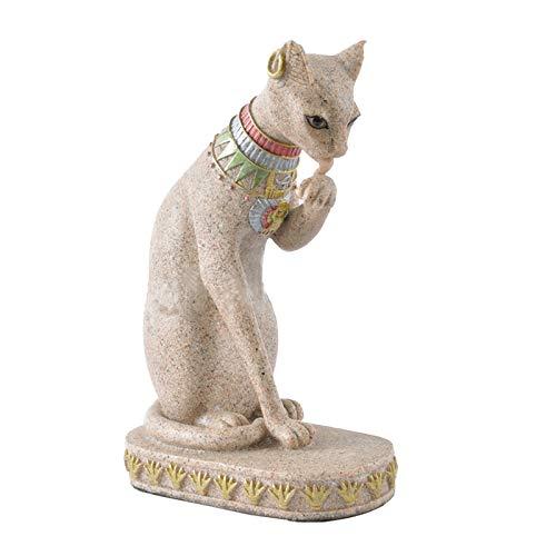 Naliovker Sand Stein Bastet Statue ?gyptische Katze Gott Figur Katze Altes ?gypten Natürlichen Sand Stein Handwerk Skulptur Haus Desk Dekor A