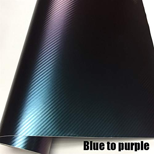 OLDJTK 10/20/30/40/50/60x152cm / Lot erstklassigen grün bis rot chamäleon 3D kohlefaser Vinyl wrapfolie chamäleon wrap Film mit luftblase (Color : Blue to Purple, Size : 50CMX152CM)