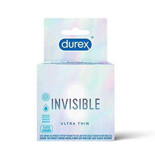 Durex Invisible Condoms, Ultra Thin, Ultra Sensitive Natural Rubber Latex Condoms for Men, FSA & HSA Eligible, 3 Count (Pack of 6)