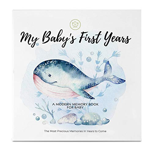 Baby First 5 Years Memory Book Journal - 90 Pages Hardcover First Year Keepsake Milestone Newborn Journal for Boys, Girls - All Family, LGBT, Single Mom Dad, Adoptive
