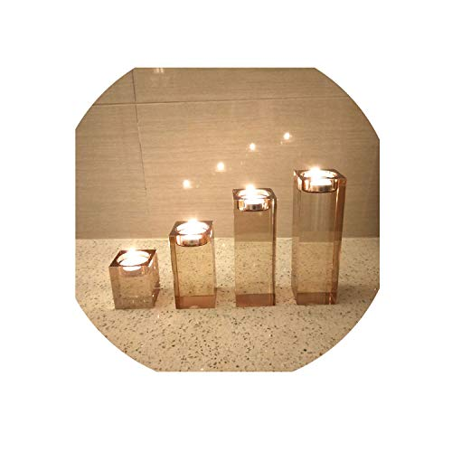 Candle Holder Clear Glass Crystal Tealight Stand Candlestick Decor European Ornaments,12cm