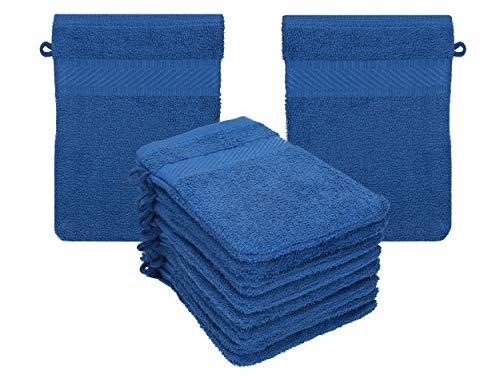 Betz 10 Stück Waschhandschuhe Frottee Waschhandschuh Palermo 100% Baumwolle Waschlappen Set Größe 16 x 21 cm (blau)