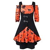 Makefortune Halloween Damen Spitze Bluse Tunika Gothic Hexe Cosplay Kostüm Oberteil Weihnachten Kleid mit Kleine Teufel Muster