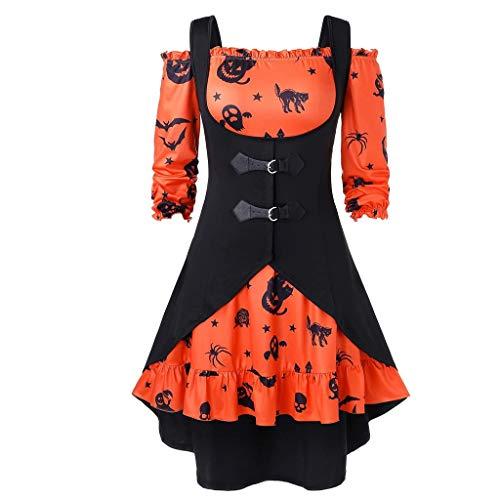 Transwen - Vestido de Fiesta para Mujer, hasta la Rodilla, Estilo Retro, con Estampado de Calabaza, sin Hombros, con Chaleco Naranja XL