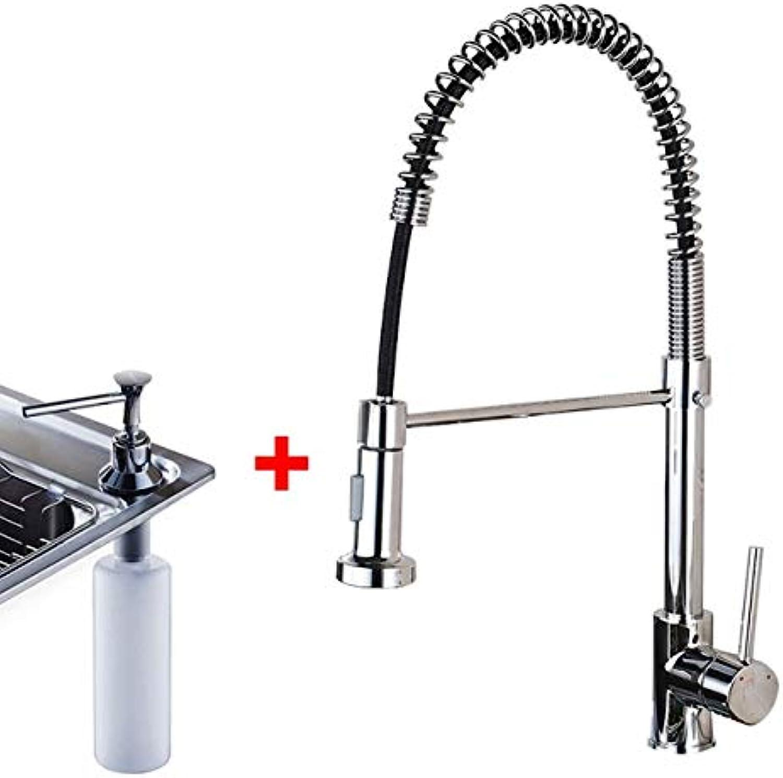 U-Enjoy Kronleuchter Messing Luxuxchrom Frühling Und Top-Qualitt Kalten Hot Kitchen Sink Wasserhahn Griff Doppel Spout Einzelküchenmischbatterien Kostenloser Versand [Chrome Dispenser]