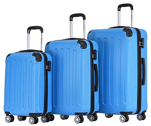 BEIBYE 2045 Zwillingsrollen 3tlg. Reisekoffer Koffer Kofferset Trolleys Hartschale in 14 Farben (Türkis)