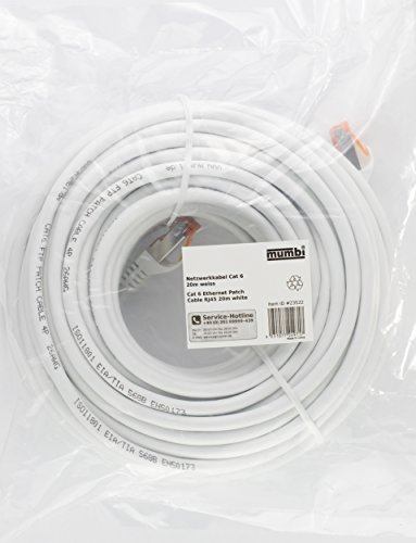 mumbi LAN Kabel 20m CAT 6 Netzwerkkabel geschirmtes F/UTP CAT6 Ethernet Kabel Patchkabel RJ45 20Meter, Weiss