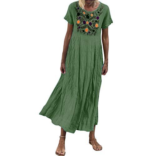 Shinehua lange linnen jurk dames zomerjurk casual jurk maxi-jurk losse baggy kaftan korte mouwen strand tuniek blouse jurken dames jurken elegante partyjurken vrijetijdskleding grote maten Large groen
