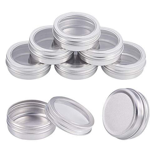 INTVN tarros de aluminio, latas de aluminio de 60 ml, latas redondas de almacenamiento de latas de metal con ventana transparente