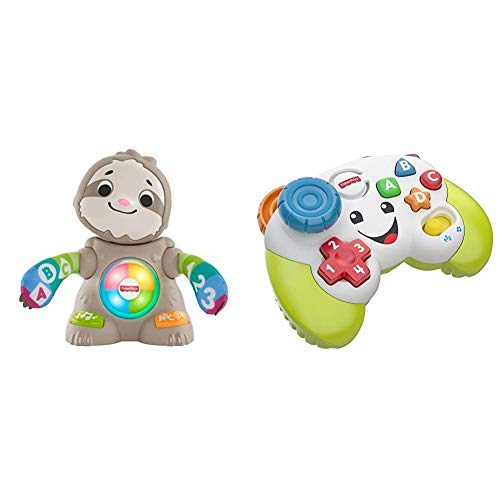 Fisher-Price GHR18 Linkimals Smooth Moves Sloth & FWG12 Game and Learn Controller, Teaching First Words, Letters, Numbers, Colours and Shapes with Songs and Sounds, 6 Months
