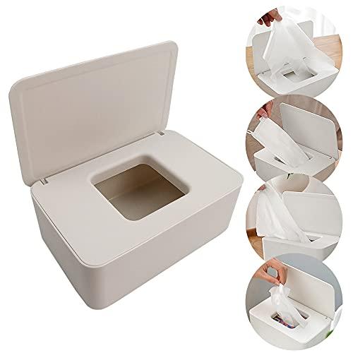 Caja para Toallitas Húmedas,Caja de almacenamiento de pañuelos Dispensador de toallitas humedas Caja de servilletas Caja toallitas,para Oficina en Casa (white)