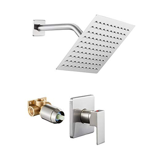 ROVOGO Shower Only Faucet Set System, Single Function Shower Trim Kit with Rain Shower Head, Brushed (Valve Included)