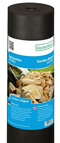 GardenMate 1mx25m Rolle 125g/m² Hydro Premium Gartenvlies mit sehr hoher Wasserdurchlässigkeit - Unkrautvlies Extrem Reißfestes Unkrautschutzvlies - Hohe UV-Stabilisierung - 1mx25m=25m²