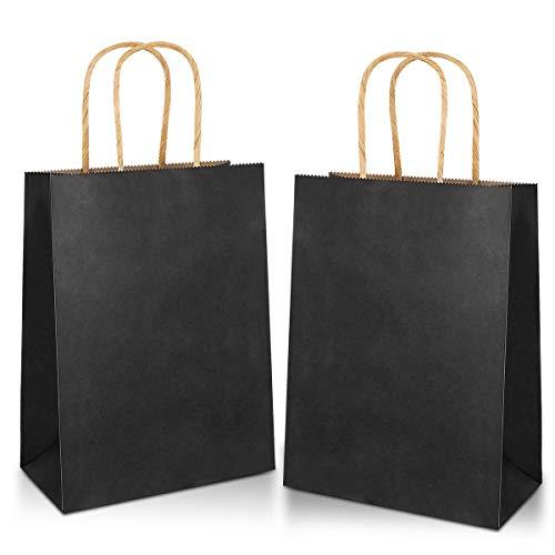 30 piezas Bolsas Papel 21 * 15 * 8CM,Bolsas de Papel Negro,Bolsas de Papel con Asas,Bolsas Papel Kraft,Bolsas Regalo(Espesar 130gsm)